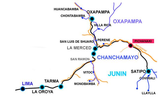 Hoteles en pichanaki o Pichanaqui mapa